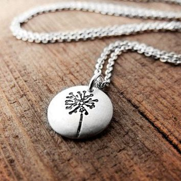 Tiny Dandelion necklace make a wish silver by lulubugjewelry