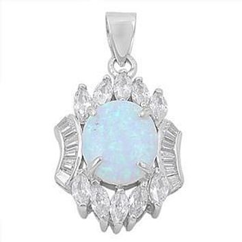 8CT White Opal Cabochon Russian Lab Diamond Accents Pendant Necklace