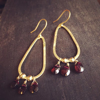 Gold Hoops,Gold and Garnet Hoops,Gold Hoops Earrings,Garnet Jewelry,Garnet Earrings,Romantic Jewelry,Perfect Christmas Gift,Gifts for Her