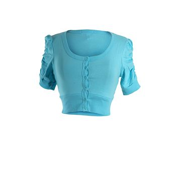 Shirred Ruched Short Sleeve Button Down Cropped Cardigan Top