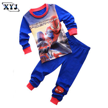 2016 Children Pajamas Set Kids Baby Girl Boys Cartoon Casual Pijamas Iron man Kids Spiderman BatMan Pyjamas Sleepwear Nightgown