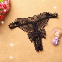 5Colors 2017 Ladis Sexy Butterfly G-string underwear lace G String And Thongs Women transparent lingerie underpants panties #23