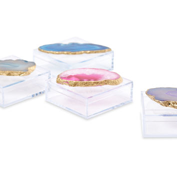 Acrylic Pill Boxes w/ Assorted Agate, Set of 4, Acrylic / Lucite, Boxes