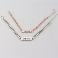 Rose Gold Silver His Queen Her King Couple Bracelet Hand Stamped Bar Chain Bracelets for Women and Men Valentine's Day Gifts