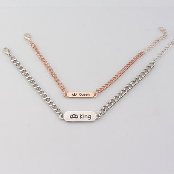 Fashion Jewelry Her King His Queen Chain Bracelet Bangle Silver and Rose Gold Color Metal Couple Bracelet for Lovers'