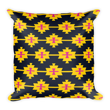 Bohemian Black Yellow Pink Decorative Throw Pillow 18x18