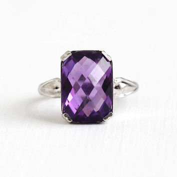Vintage Sterling Silver Large Genuine Amethyst Ring - Retro Size 6 1/4 Purple Checkerboard Gem February Birthstone Statement Uncas Jewelry