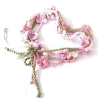 Fairy headband, Fairy necklace, Fairy belt, crochet bracelet, Floral garland, Party decor garland, Nursery decor girl, Home decor girl