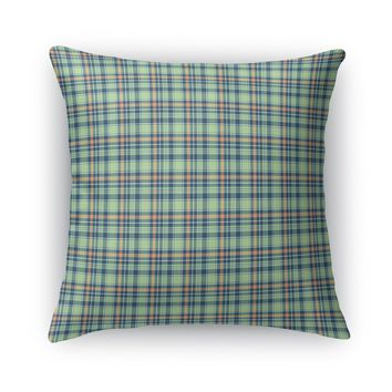 CORAL NAVY MINT PLAID Accent Pillow By Northern Whimsy