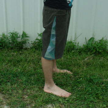 "35"" Patchwork Corduroy Shorts Brown Blue Green Hippie Handmade Festival Heady  Kynd Valley Mens"