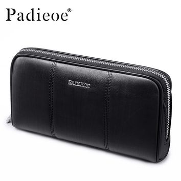 Genuine Cow Leather Clutches Wallets Fashion Casual Long Purses for Phone Men Zipper Coin Purse Card Holder Male