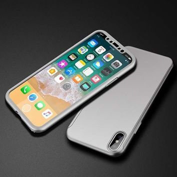 Ultra thin Glass Screen Film Shell Case for iPhone X