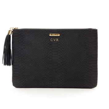 Embossed Python Leather Uber Clutch