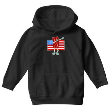 bacon american flag dab Youth Hoodie