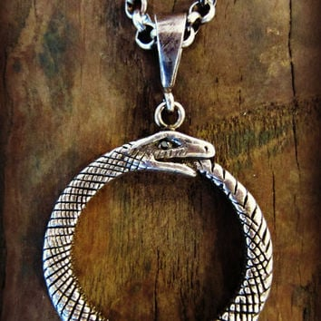 "AS SEEN on actress Olivia Alexander - Large Ouroboros Necklace also seen on the CW series ""Remodeled"""