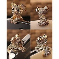 Amazon.com: New Crystal Dog Puppy Bear 3.5mm Antidust Anti Dust ear cap for iphone 5, HTC, Samsung: Cell Phones & Accessories