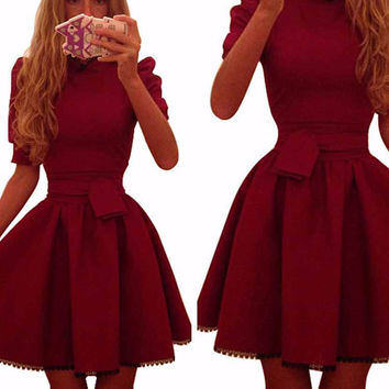 Wine Red Bow Tie Accent Pleated Mini Dress