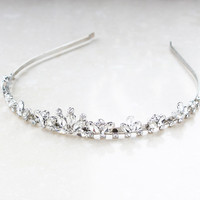 Women Crown Hairband Vintage Crystal Bridal Tiara Jewelry Wedding Hair Accessories Women Party Pageant Silver Plated