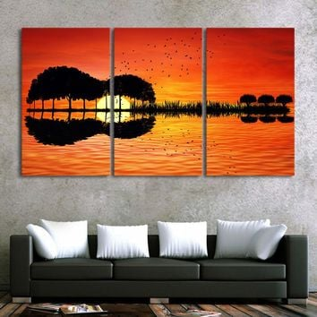 "Fast US Ship - 3 piece canvas reflection print - wall art canvas ""guitar tree"" at lake sunset"