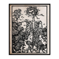Grateful Dead Art Print Skeleton Roses Vintage Style Wall Decor Home Office Grunge Steampunk Primitive Halloween Rustic 8 by 10