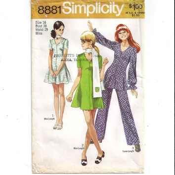 Simplicity 8881 Pattern for Misses' Mini Dress, Tunic, Pants, Scarf, From 1970, Size 16, Vintage Pattern, Home Sewing Pattern, 1970 Fashion