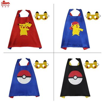 SPECIAL 70*70 cm child Pikachu costume cape mask birthday girl gift anime character cosplay kids party Halloween decoration