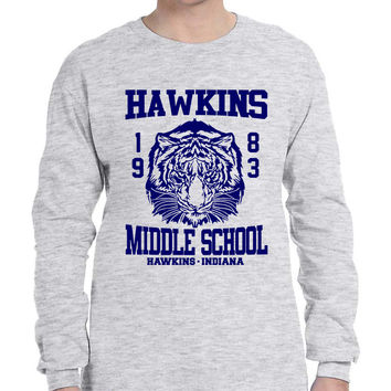 Men's Long Sleeve Hawkins Middle School 1983 Tigers