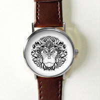 Tribal Monkey Watch , Women Watches,  Men's Watch, Leather Watch,  Boyfriend Watch, Ladies Watch, Silver Gold Rose Gold Watch, Fengshui
