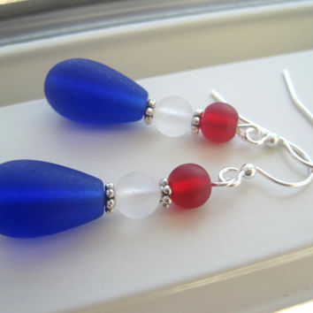USA Earrings - 4th of July Earrings - Red White and Blue Earrings - Patriotic Jewelry - Sea Glass Earrings - USA jewery - Fourth of July