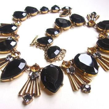 Black Glass & Topaz Gray Rhinestone Necklace, Art Deco Gold Tone, Vintage