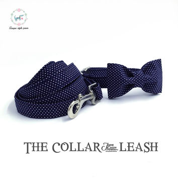 Navy  Blue  Dog Collar and Lead  Set with Bow Tie  personal custom adjustable pet pupply100% cotton  dog &cat necklace and dog leash
