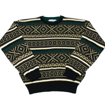 Vintage 90s Green/Tan/Black Nordic Style Acrylic Sweater Mens Size Medium