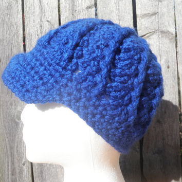 Newsboy, Royal Blue crochet hat, Unisex winter hat