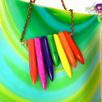 Rainbow Anklet made in Hawaii, spike stone ankle bracelet, Hawaiian Jewelry by Mermaid Tears