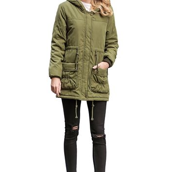 ACE SHOCK Winter Coats for Women Hooded, Faux Fur Lined Parka Jackets with Belt Long Warm Black Green Pink Navy (Regular US 12-14, Army Green)