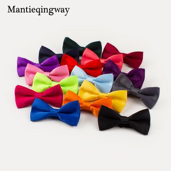 Mantieqingway Bowtie Men Formal Necktie Cravat Men's Fashion Business Wedding Bow Tie Male Solid Color Polyester Black Bow Ties