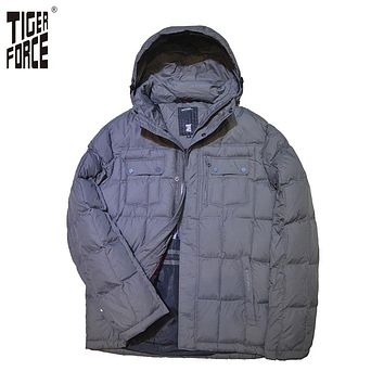 TIGER FORCE 2016 Men Fashion Padded Jacket Winter Jacket Men Polyester Coat Parka With Hood Solid Zipper Free Shipping 7696