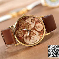 World Map Watch, Unisex Watch, Leather Watch