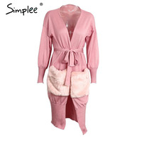 Simplee plush pocket knitted sweater women cardigan Autumn winter thin batwing sleeve sweater coat Elegant long patchwork jumper