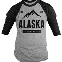 Shirts By Sarah Men's Alaska State Pride 3/4 Sleeve Shirt Mountains Wonder Raglan Tee