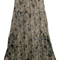 Mogul Interior Evelyn Womens Maxi Skirt Brown Printed Flare Flirty Casual Summer Medieval Skirts S/M