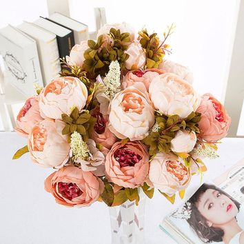 1 PC Vintage European Artificial Peony Silk Flower Bouquet Bridal Bouquet real touch Roseflower for home office party decoration