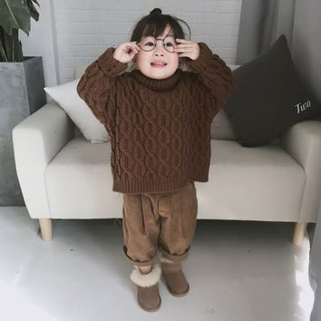 Turtleneck Warm Kids Cardigan Toddler Sweater Baby Girl Sweater Cashmere Soft Cotton Ribbed Baby Boys Clothes Winter Girls 1-8Y