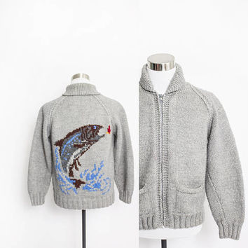 Vintage Cowichan Sweater -  FISH Novelty Grey Knit WOOL Zip Cardigan 1960s - Large