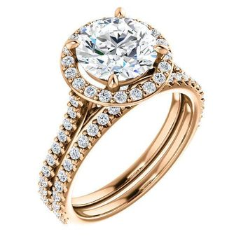 Round Moissanite Diamond Accent Ice Halo Bezel Ring
