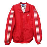 Vintage 90s Adidas Brand Red White Striped Zipper Windbreaker Jacket | Adult Size Extra Large XL | 1990s Zip Up Track Coat Warmup