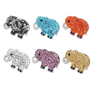 10Pcs/lot New Fashion 18MM Crystal Elephant Metal Snap button Jewelry For Bangle Women Charm Bracelets