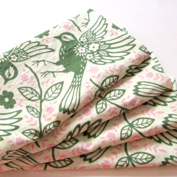 Large Cloth Napkins - Set of 4 - Green Birds Floral - Dinner, Table, Everyday, Wedding