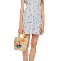 Topshop Stripe Floral Mini Pinafore Dress | Nordstrom
