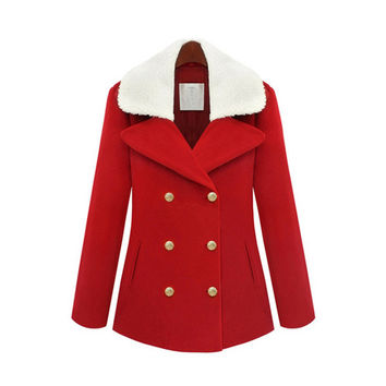 Red Double Breast Adjustable Faux Fur Collar Coat